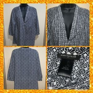 Ann Taylor BLOUSE TOP SZ L BLACK/WHITE 3/4 SLEEVE